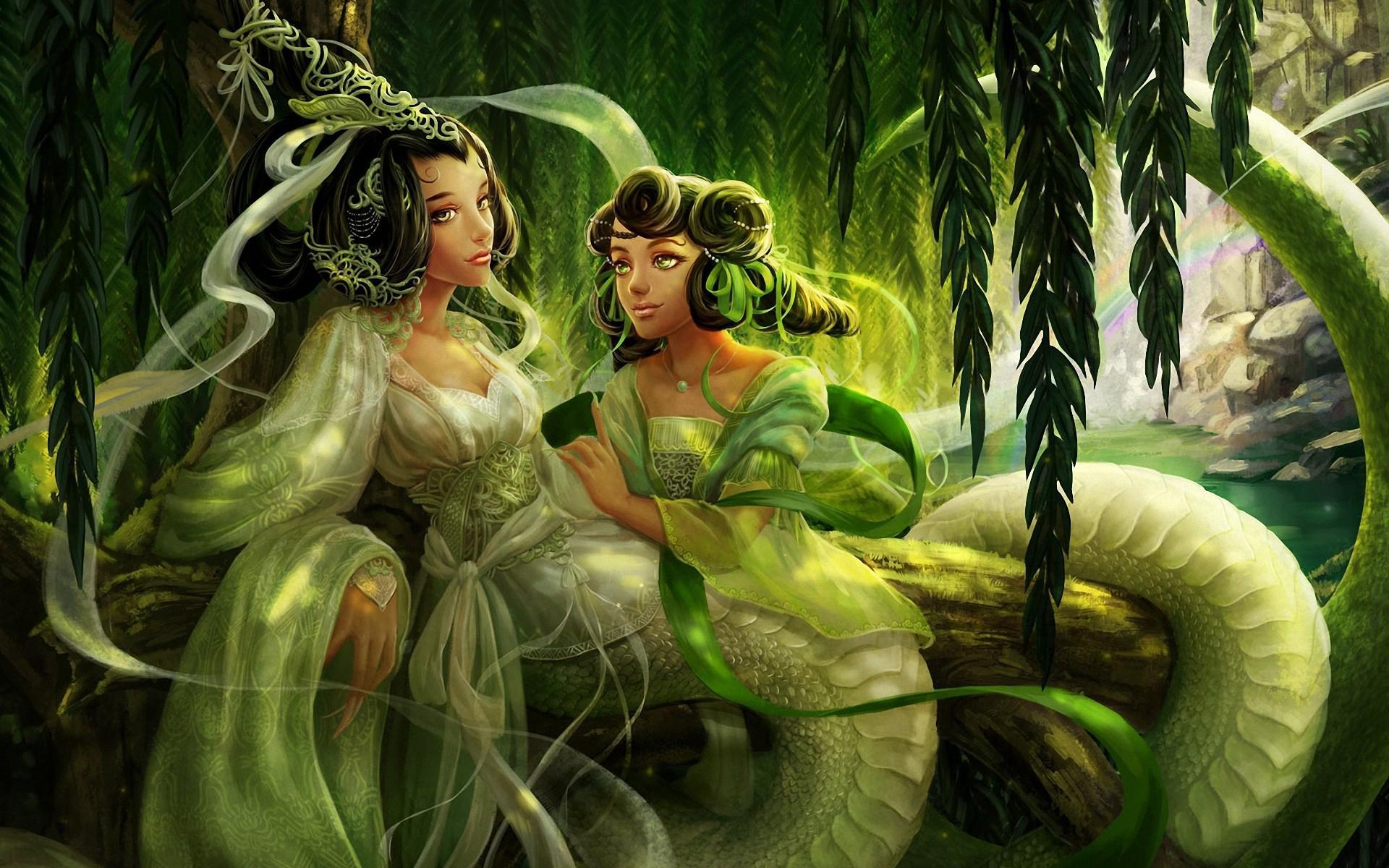 Описание две полу девушки полу змеи с